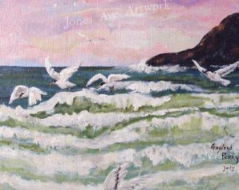 Original artwork, acrylic painting, Sea gulls at Dawn, art on plywood, landscape, art for sale