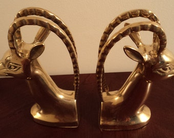 Vintage Hollywood Regency Brass Antelope Impala Deer Bookends