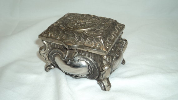 Vintage Keepsake Nickel Silver Trinket and Jewelry Box Japan
