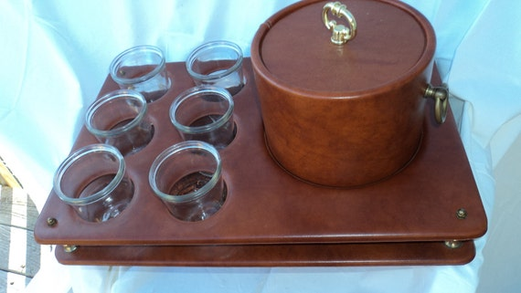 Vintage Retro Ice Bucket with Serving Glasses Tray