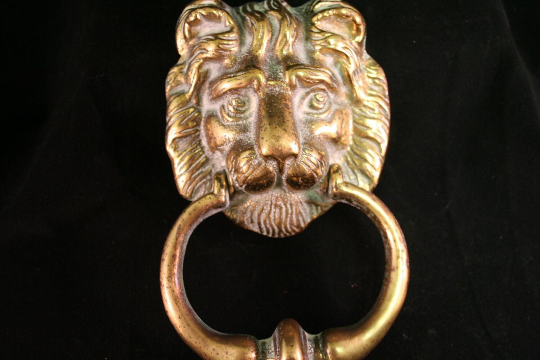 Vintage solid brass lion head door knocker - Lion face door knocker ...