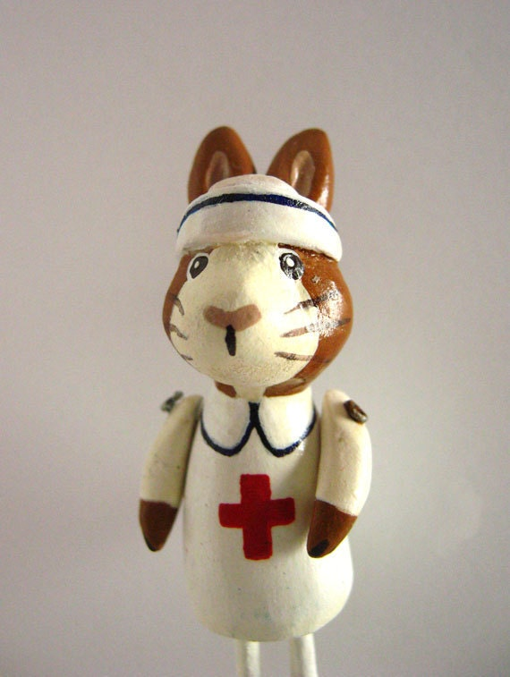 OOAK Nurse Pin - Rabbit