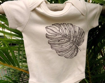 Tropical Monstera Palm Leaf 100% Organic Cotton Tofu Short Sleeve Baby Onesie