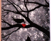 ACEO Dark Gothic Lowbrow Surreal Fantasy Raven Black Bird Heart Tree Night Original & One of a Kind Painting A Love Story No 7 Art Card