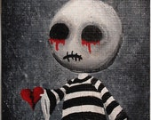 ACEO Dark Punk Emo Stripes Spooky Halloween Ugly Cute Heart Lowbrow Fantasy Original Painting 'Big Juicy Tears of Blood N' Pain' No.1