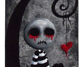 Creepy Cute Zombie Art Print Signed Reproduction Big Juicy Tears of Blood & Pain No.2 by Lizzy Love [IMG#9]