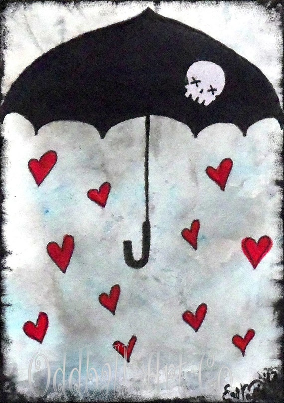 Mixed Media Art Print Signed Reproduction Raindrops of Love by Lizzy Love [IMG#96]