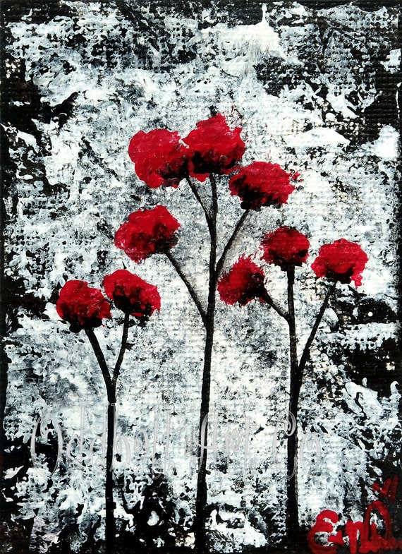 ACEO Dark Art Gothic Lowbrow Surreal Fantasy Dream Red Flowers Poppies Black White Original Acrylic Painting 'A Love Story' No. 21 of Series