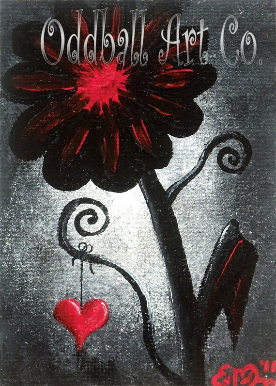 ACEO SALE Dark Art Gothic Lowbrow Emo Punk Flower Red Black Heart Fantasy Surreal Dream Whimsical Whimsy Original Painting Love