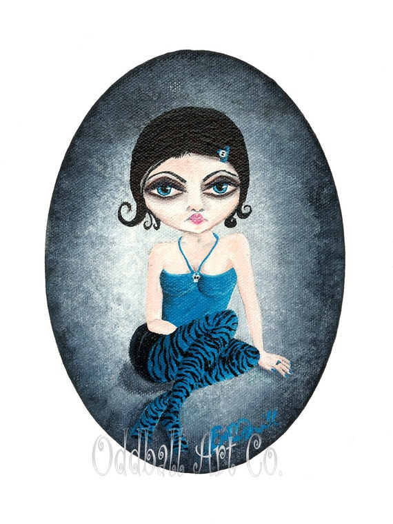 SALE Big Eye Art Original Acrylic Painting Dark Gothic Lowbrow Fantasy Girl Oddball Girl Oddball Girls Series No 2 Cameo