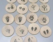 ANIMAL TRACKS edition wooden matching game test your memory FREE initial personalization comes with a carry bag