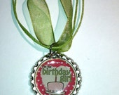 Birthday Girl cake bottle cap necklace these also make a great party favor