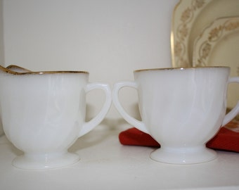 Fire King Milk Glass Creamer and Sugar Bowl Set