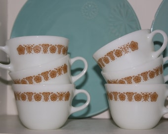 Pyrex Coffee or Tea Cups in Butterfly Gold Pattern