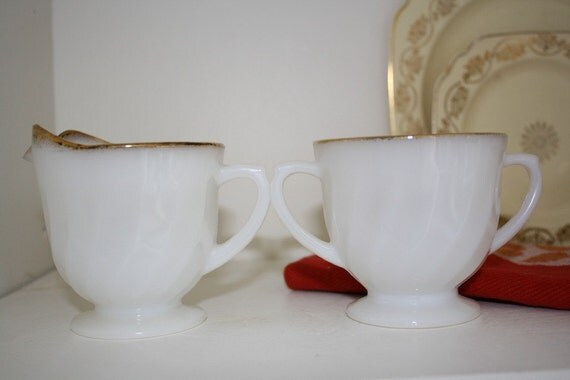 Fire King Milk Glass Creamer and Sugar Bowl Set