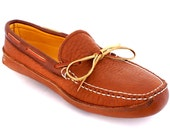 Mens Deerskin Lined Bull Hide Triple Sole Canoe Moc in Tobacco