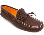 Mens Deerskin Lined Buffalo Hide Moccasin Slipper in Chocolate Brown