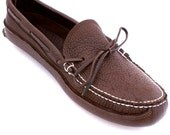 Handmade Bull Hide Canoe Sole Moccasin for Men in Chocolate Brown