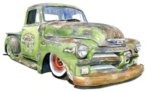 Dwayne's Rust Rod - original watercolor