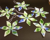 Blue/Green Fused Glass Snowflake Ornaments