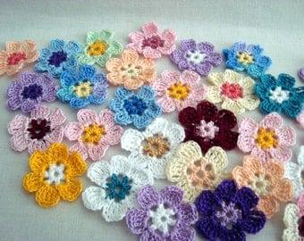 Crochet Thread Flower Assortment, Choice of Colors, Set of 10