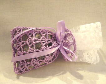 Lavender and Lace Crocheted Sachet