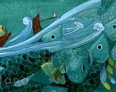 "16x6.5"" Fisherman Watercolour Gouache Fish Painting Illustration Giclee Art Print"