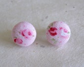 Pink Rose Floral Post Cotton Earrings 12mm Surgical Steel