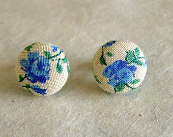 Blue Rose Floral Post Cotton Earrings 12mm Surgical Steel