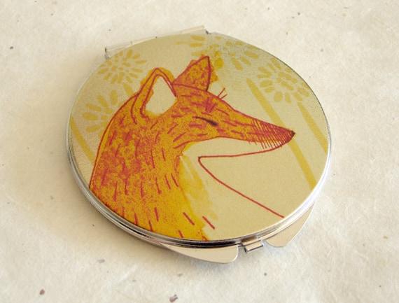 "Orange Fox Compact Mirror Illustration Art 2.75"""