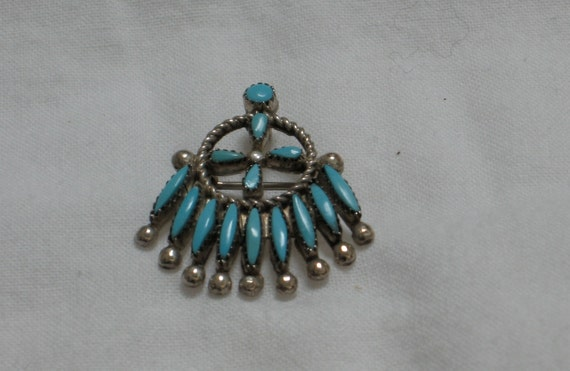 Zuni Petit Point or Needle Point Sterling Silver Combination Brooch, Pendant