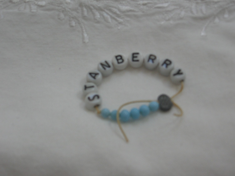 Vintage Beaded Hospital Baby Bracelet Blue For Boys