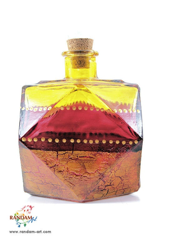 Painted Glass Bottle Reed Diffuser Yellow Red & Gold Crackled