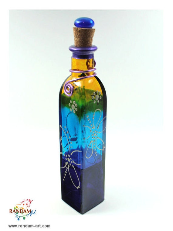 Painted Glass Bottle Reed Diffuser or Oil Lamp Candle with Purple, Aqua, Green and Yellow
