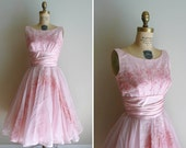 Vintage 1950s Dress Embroidered Pink Party Dress