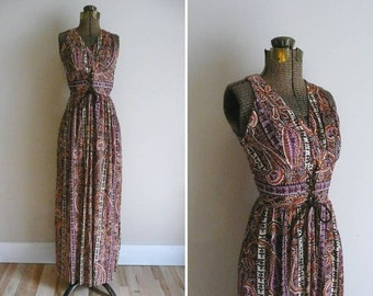 Vintage 1970s Dress Gay Gibson Boho Maxi Dress