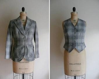 Vintage 1970s Plaid Wool Pendleton Blazer and Vest Set