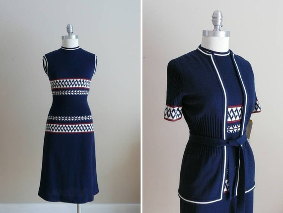Vintage 1960s 1970s Dress NOS NWT Maisonette Sweater Dress and Jacket Set