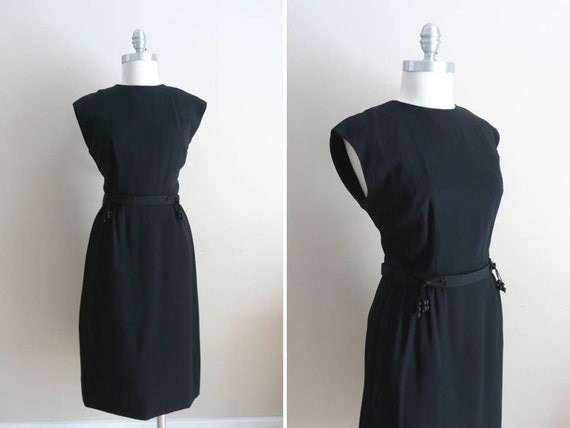 Vintage 1960s Lee Richard Fashions Little Black Dress with Tassel Belt