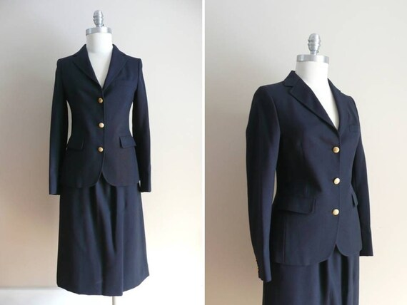 Vintage Brooks Brothers Navy Blue Suit
