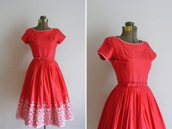Vintage 1950s Picnic Perfect Red Cross Stitch Embroidered Cotton Dress