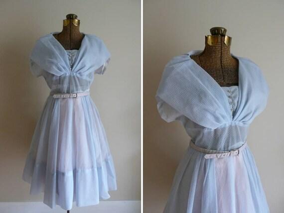 Vintage 1950s Dress Swiss Dot Party