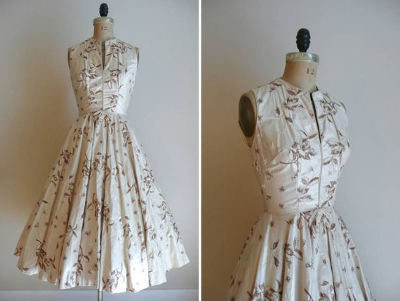 Vintage 1950s Embroidered Safinia Saks Fifth Avenue Party Dress