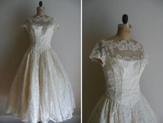 Vintage 1950s Priscilla Of Boston Lace Wedding Dress Gown