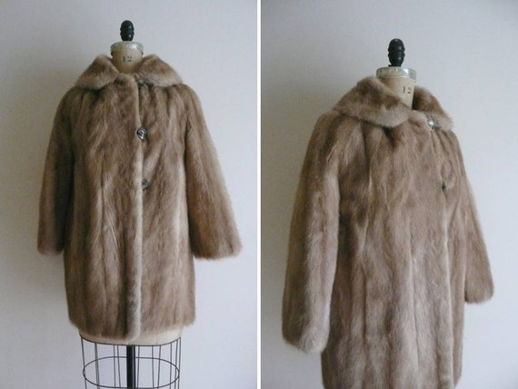 Vintage 1950s 1960s Mink Fur Coat