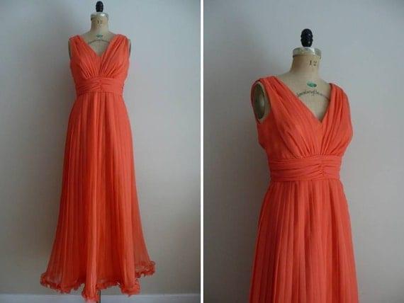 1970s Dress Tangerine Dream Goddess Gown