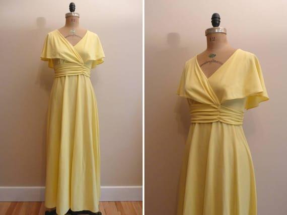 Vintage 1960s 1970s Dress Yellow Maxi Dress