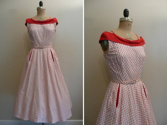 Vintage 1950s Cotton Sundress Red and White