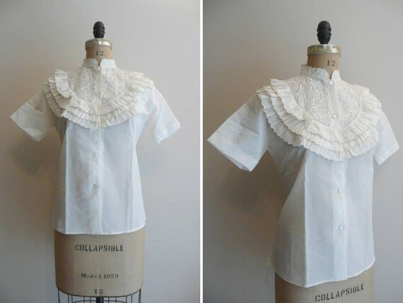 Vintage Blouse Ruffle  Embroidered