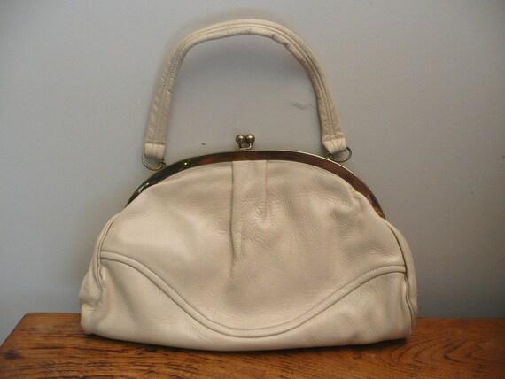 Vintage 1950s 1960s Leather Handbag